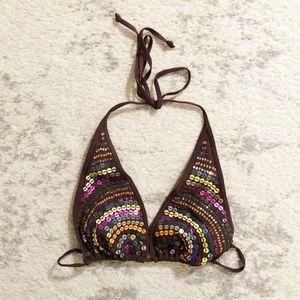 Brown & colorful sequin triangle string bikini top